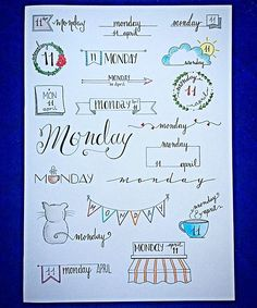 some inspiration for your next monday! _ un po' d'ispirazione per il vostro prossimo lunedì #monday #banner #bulletjournal  #stationary #stationaryaddict #handlettering #calligraphy #handlettered #moderncalligraphy  #midoritravelersnotebook #lettering #font #rockyourhandwriting #type #letters #filofaxgoodies #planner #planning #planneraddict #plannernerds #plannercommunity #plannersupplies #planwithmechallenge #filofax #plannerlove #bulletjournaljunkies #bulletjournalchallenge #doodle…
