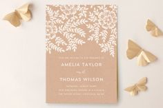 Leaves and Kraft Wedding Invitations by Katharine Watson at minted.com Kraft Wedding Invitations, Botanical Wedding Invitations, Wedding Stationery, Save The Date Postcards, Save The Date Cards, Wedding Paper, Our Wedding, Wedding Ideas, Chic Wedding