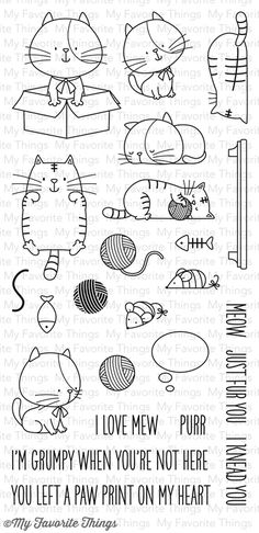 2015 VIDEO I Knead You stamp set Six cats, one of which includes a coordinating backside image, will be primped and pampered with accessories ranging from yarn balls and mice, to fish and a comfortable shelf to relax upon. and seven coordinating sentiments.