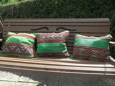 SET OF 3 Traditional Moroccan Cushion Covers Bright 100% wool