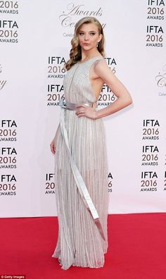 Queen of the red carpet: Natalie Dormer stunned in a pleated silver gown as she led the ce...