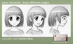 If you want to learn or study the of manga you should check out Mark Crilley's tutorial videos on YouTube or check him out on deviant art. Same Character 3 Different Angles by markcrilley.deviantart.com on @deviantART