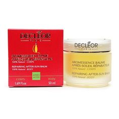 Decleor Aromessence Repairing After-Sun Balm 1.69 fl oz (50 ml) by Decleor. $42.00. All-natural ingredients. Soothes burnt, or damaged skin. Smooth, silky texture. Protects against premature peeling. 100% essential oils. 100% Natural - BodyAroma Sun, suncare products at the very heart of Decleor expertise: the power of Essential Oils and Aromessence™. The First Aroma-Skincare after-sun product for the body with a divinely smooth, rich texture that:provides long-lasting acti...