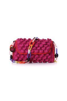 M Missoni Fuchsia Faux Raffia Bag Knitted Bags Small Knitting