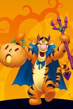 Tigger Halloween, Betty Boop Halloween, Hello Kitty Halloween, Happy Halloween, Tigger Disney, Disney Winnie The Pooh, Disney Fun, Walt Disney, Halloween Wallpaper Iphone