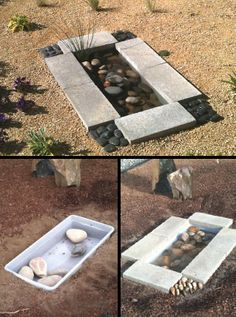 Small Contemporary Water Feature DIY project made from a storage tub pavers stone 30 or from thegardenglove Contemporary Water Feature, Diy Water Feature, Contemporary Garden, Outdoor Water Features, Water Features In The Garden, Outdoor Projects, Diy Projects, Outdoor Decor, Storage Tubs