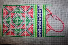 "Hmoob paj ntaub I remember as a kid my mom would teach us stitches and how to sew so we can ""make our own Hmong clothes"" but none of our complete paj ntaub were ever made into Hmong clothes for us. I think my mom still has them tucked away somewhere. Free Cross Stitch Charts, Cross Stitch Bookmarks, Cross Stitch Borders, Cross Stitch Designs, Cross Stitching, Cross Stitch Embroidery, Hand Embroidery, Cross Stitch Patterns, Cross Stitch Cushion"