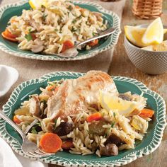 This dish combines mushrooms, celery, carrots, chicken broth, & white wine with pan seared chicken and orzo in a slow cooker for ease and convenience.