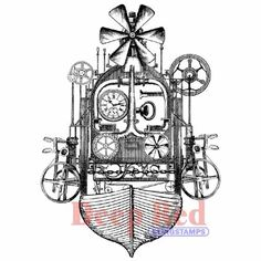 Deep Red Stamps - Steampunk Flying Machine - Joggles.com