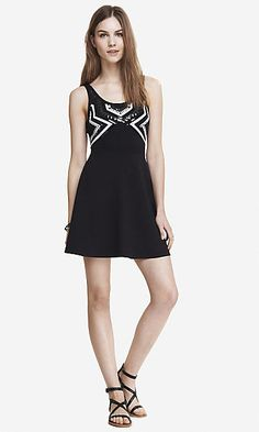 AZTEC SEQUIN SKATER DRESS| Express| Was $49.90 Now $34.93