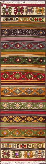 "Balikesir kilim runner, wool on cotton, 2'7""x8'11"", over 50 years old"
