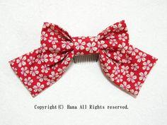 リボン髪飾りロング レトロ桜 赤系  #髪飾り #リボン #はいからさん #袴 #卒業式 #卒園式 #柄 #桜 #シンプル #コーム
