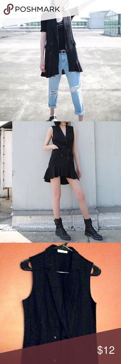 Mermaid tail black linen vest Size S, it may fit to M as well; You can wear it as a dress or just throw on to highlight the outfit. Cool yet maintain the femanine touch; no defects. Chinese Online Boutique Jackets & Coats Vests