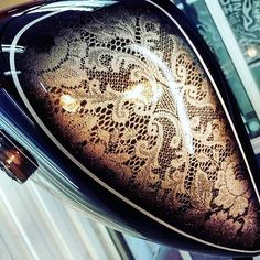 Black lace over micro silver base .silver leaf and pinlines to come Custom Motorcycle Paint Jobs, Custom Paint Jobs, Custom Cars, Harley Davidson Images, Motorcycle Tank, Lace Painting, Paint Stripes, Tank Design, Airbrush Art