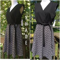Studio One Pretty Dress ! 💞 Studio One New York ! Pretty black and white dress ! Sleeveless ! Black tie belt to tie in back ! Bodice all black it criss crosses, very flattering ! Skirt part zig zag black and white ! About 36 inch length ! 94% polyester 6% spandex ! So pretty ! 💞 Studio One Dresses