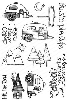 This outdoorsy clear stamp set is absolutely darling with RV or camper images, trees and mountains - all things needed for the SIMPLE LIFE. This clear photopolymer stamp set is from Impression Obsession, designed by Lindsay Ostrom (affiliate link) Sharpie Drawings, Doodle Drawings, Easy Drawings, Kawaii Drawings, Christmas Doodles, Christmas Drawing, Christmas Art, Simple Doodles, Cute Doodles