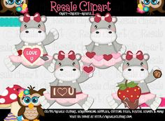 Lil Hippo Valentine Girls Clipart by ResaleClipart on Etsy, $2.50