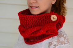 Red Scarf Christmas Gift Chunky Cowl Knit Neck by SmilingKnitting