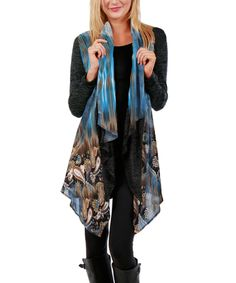 Simply Aster Blue Paisley Drape Cardigan by Simply Aster #zulily #zulilyfinds
