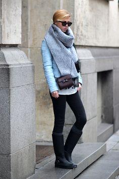 Sirma Markova: Ice Blue Leather / Choies Biker Jacket http://www.choies.com/product/light-blue-collarless-leather-look-biker-jacket-with-zipper-detail_p31013