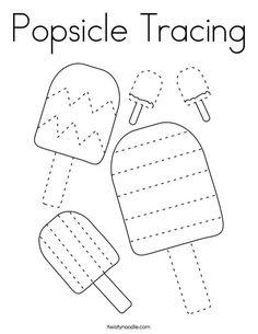 Popsicle Tracing Coloring Page - Twisty Noodle Preschool Writing, Preschool Learning Activities, Free Preschool, Preschool Printables, Kindergarten Worksheets, Writing Activities, Preschool Activities, Tracing Worksheets, Worksheets For Kids