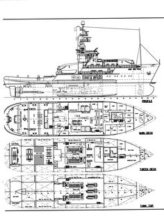 Elevation and deck plans of the twin-screw steam tug