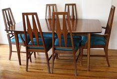 Mid century modern Broyhill Brasilia dining table and Broyhill dining chairs upholstered in teal tweed