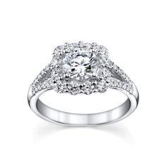 Coast 14K White Gold Diamond Engagement Ring Setting