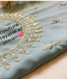 Pearl Embroidery, Hand Embroidery Dress, Bead Embroidery Patterns, Embroidery Fashion, Hand Embroidery Designs, Latest Salwar Kameez Designs, Salwar Neck Designs, Silk Saree Blouse Designs, Dress Neck Designs