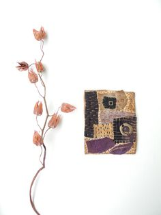 Hand stitched brooch, textile jewelry, Japanese boro, patchwork, sashiko, fiber arts textile by Giova Brusa
