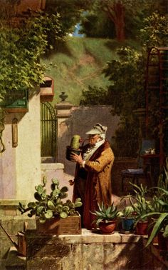 The artwork Spitzweg / The Cactus Lover / c. 1856 - Carl Spitzweg we deliver as art print on canvas, poster, plate or finest hand made paper. Artist Painting, Painting & Drawing, Carl Spitzweg, Antoine Bourdelle, Gauguin, Gustav Klimt, Vintage Colors, Vintage Art, Art Reproductions
