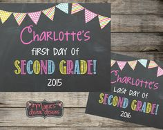 Personalized First Day & Last Day Of School - Printable Chalkboard Photo Props / School - Daycare Signs