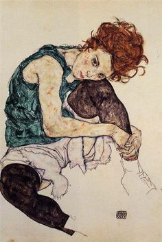 Egon Schiele - Seated woman with bent knee (1917)