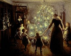 Some Old-Fashioned Christmas Paintings and Christmas Pictures for Art Lovers This Holiday Victorian Christmas Tree, Magical Christmas, Noel Christmas, Vintage Christmas Cards, Christmas Pictures, Winter Christmas, Christmas Dance, Family Christmas, Danish Christmas