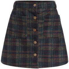 Checkered Pockets Buttons A-Line Skirt (260 MXN) ❤ liked on Polyvore featuring skirts, bottoms, faldas, saias, multicolor, a line skirt, plaid skirts, multi color skirt, knee length a line skirt and tartan skirt