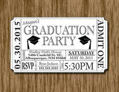 Graduation Party Invitation Ticket by ThroughTheGlassDsgn on Etsy