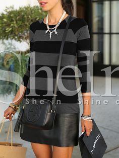 Vestido rayas pu cuero -negro 16.48
