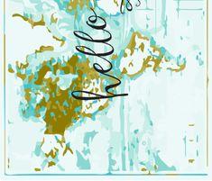 Hello World Crib Sheet // mustard fabric by ivieclothco on Spoonflower - custom fabric