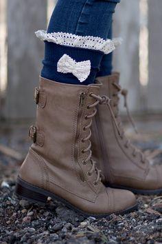 Bow Boot Socks Women's Lace Crochet Boot Socks Navy by Modern Boho at Amazon Women's Clothing store: