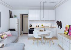 Schlichte platzsparend eingerichtete Wohnung