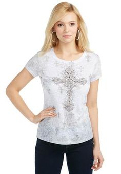 Cato Fashions Embellished Cross Print Burnout Tee -Plus #CatoFashions #CatoSummerStyle