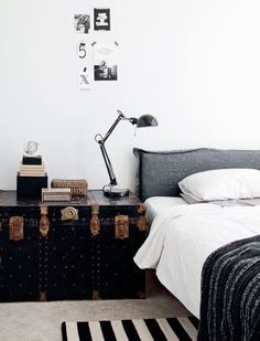 The french bedroom company blog: Bedside Story - Inventive ways with bedside tables, from vintage trunks, magazine stacks of vogue, DIY bedside project, cool stool, classical bedside and chairs. See all the ideas over on the blog