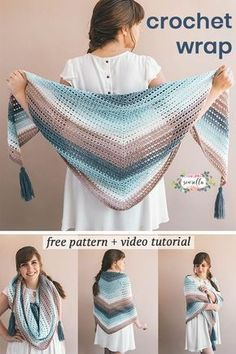 Learn how to crochet this easy Wishing Well Wrap with my free pattern and video tutorial - use easy self striping yarn to create a beginner lacy shawl for all sizes. easy watches Crochet Wrap - Wishing Well Wrap - Free Crochet Pattern Poncho Au Crochet, Beau Crochet, Crochet Prayer Shawls, Pull Crochet, Crochet Wrap Pattern, Crochet Shawls And Wraps, Crochet Patterns, Crochet Scarves, Crochet Stitches