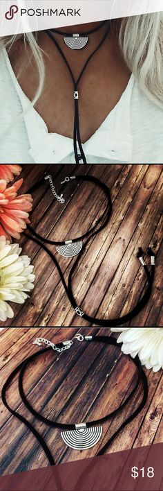 🌼🎉🎉HP🎉🎉Boho choker,layered choker,Tribal,boho This is a thick black suede choker with a semicircle silver alloy tribal pendant it is 13 inches with a 3 inch extension, the necklace tail  goes down to 24inches and has three silver alloy beads which are slidable you can move them, the pendant is 1 1/2 inches wide almost an inch long, handmade new🎉🎉HP🎉🎉Best in Boutiques ruesroom Jewelry Necklaces