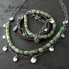 zielony kyanit, skórzany rzemień i oksydowane srebro - komplet Biżuteria Komplety formood