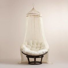 Crafted in India of sheer cotton, our exclusive canopy features a macrame netting top with wood bead accents for added bohemian-chic flair. This gauzy accent looks incomparably romantic when draped over a bed, surrounding a papasan chair or even shie Bedroom Chair, Bedroom Decor, Cozy Bedroom, Bedroom Ideas, Papasan Chair, Chair Cushions, Modern Bedroom Design, Bedroom Designs, White Furniture