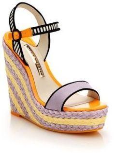 Sophia Webster Lucita Striped Espadrille Wedge Sandals #purple #yellow #black #wedge #straw #sandals #fashion #webster #stripes #trend #trendy