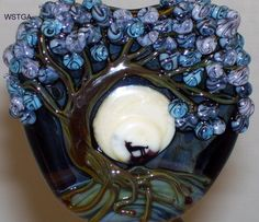 WSTGA~HOWL AT THE MOON~WOLF TREE FLORAL handmade lampwork glass bead focal SRA