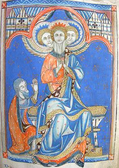 Abraham and the Trinity -  MS K.26, one of a sequence of 46 Biblical illustrations (c.1270-80) inserted at the front of a fourteenth-century Psalter (English)