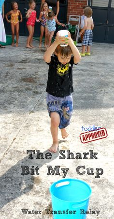 Fun water game idea: Shark and Water Themed Fun ... It says it's for toddlers/young children, but I think this could work for all ages, with minor adjustments.   ... Imagine adults with solo cups on their heads! Lol